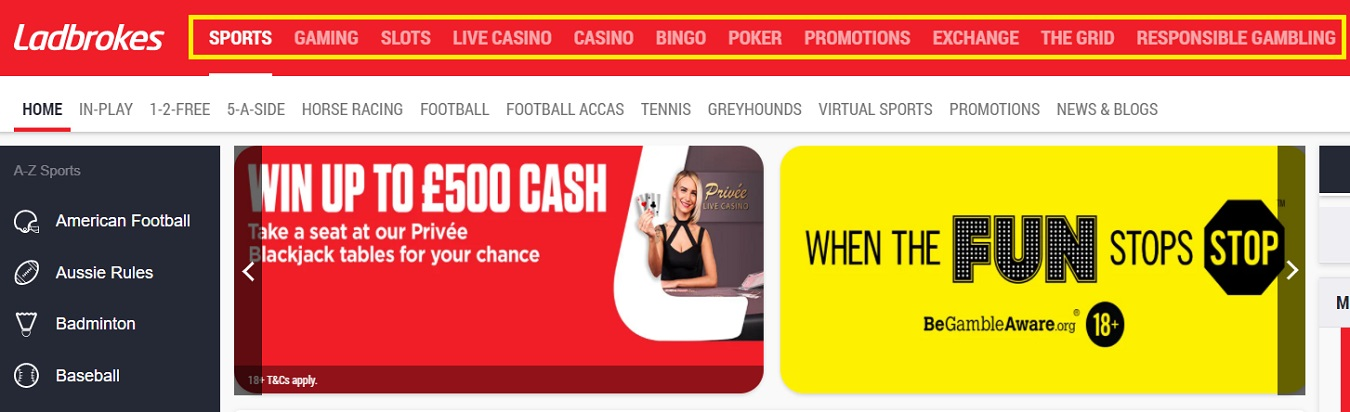 The main sections of the online bookmaker Ladbrokes