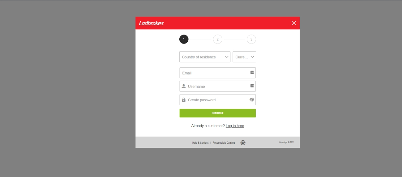 Ladbrokes registration page