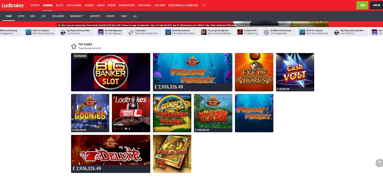 Ladbrokes casino section