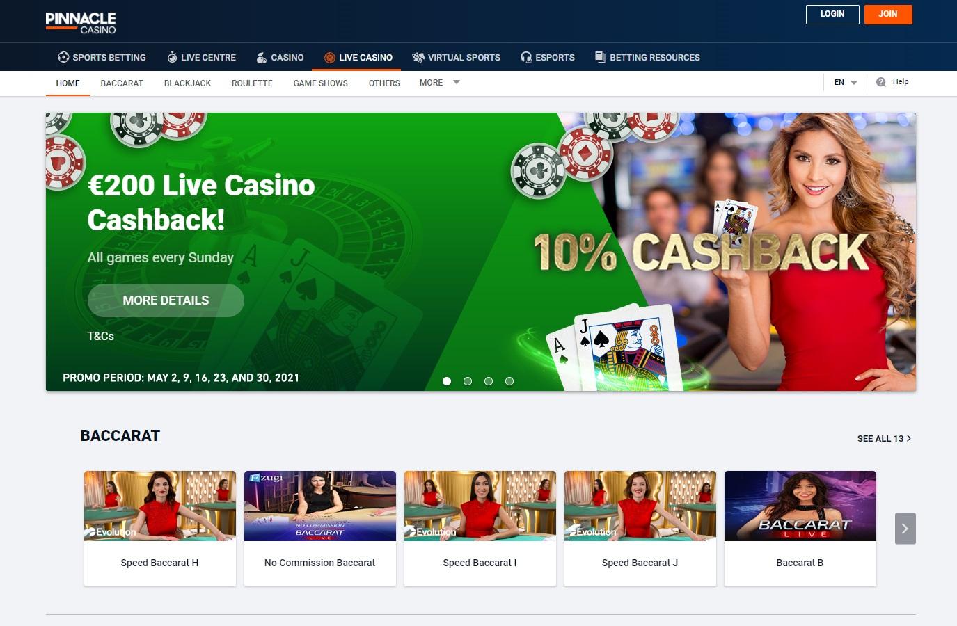 Pinnacle live casino