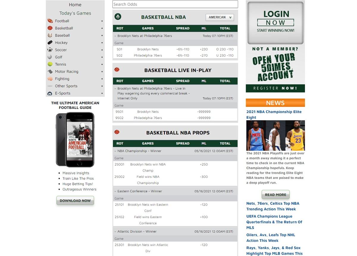 Basketball betting menu in 5Dimes