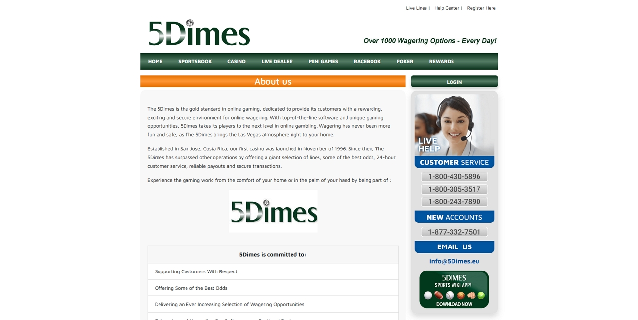 5dimes about us page