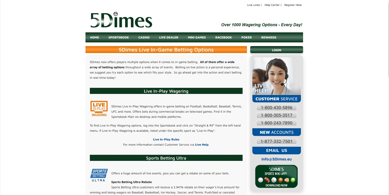 5 dimes live betting page