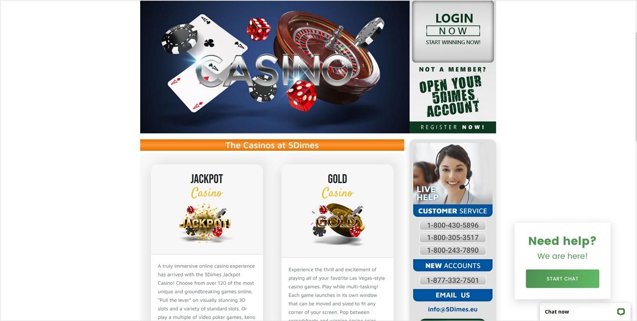 5 dimes casino page