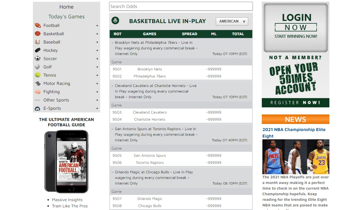 basketball live line in 5dimes