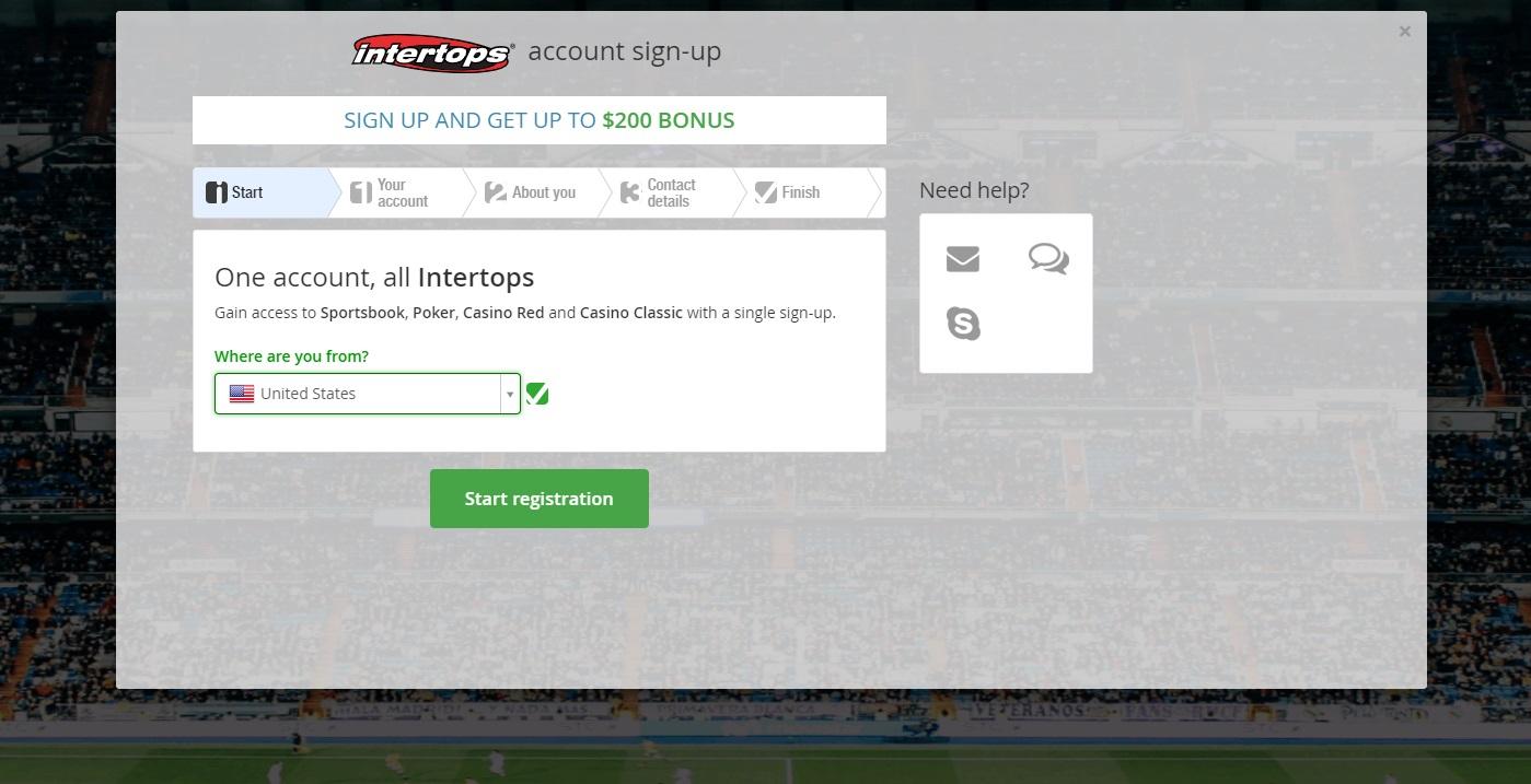 Registration in intertops