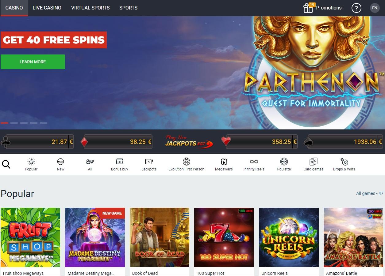 Optibet casino section