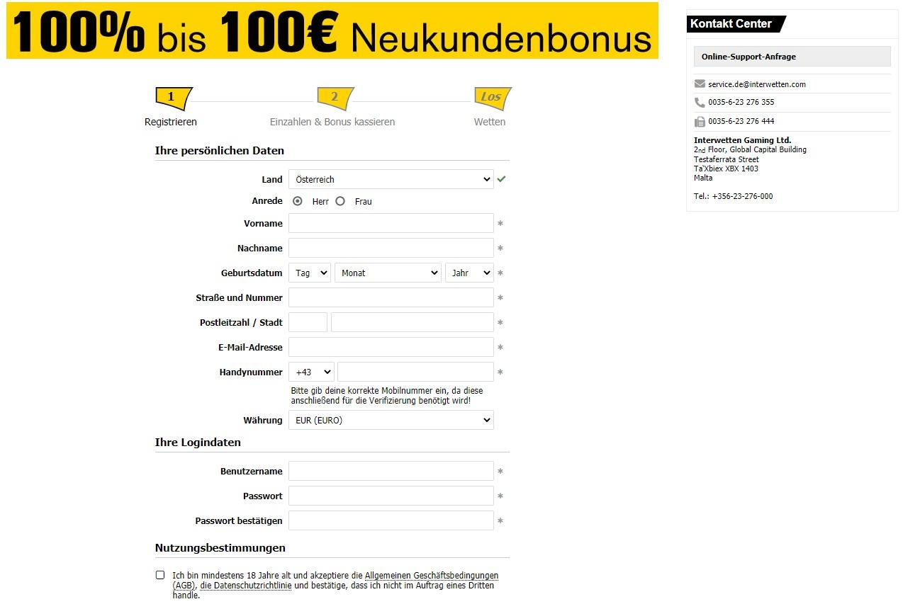 Registration on the Interwetten