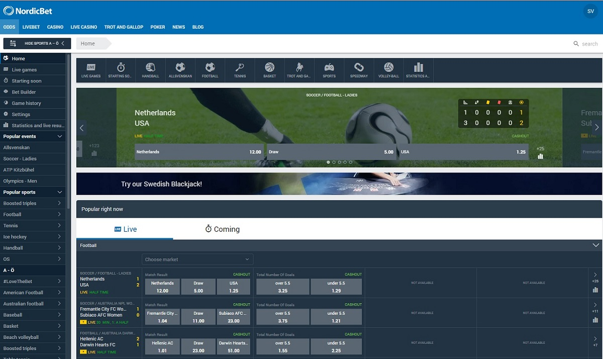 Bets at Nordicbet