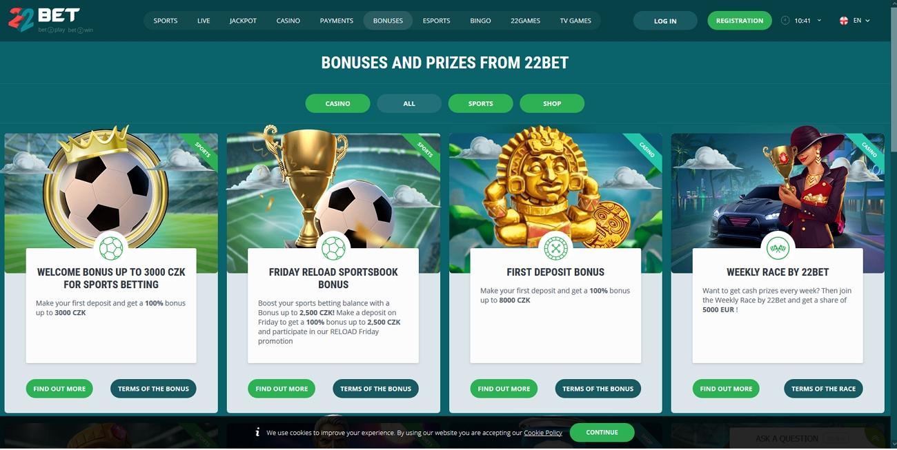 22 Bet bonus page