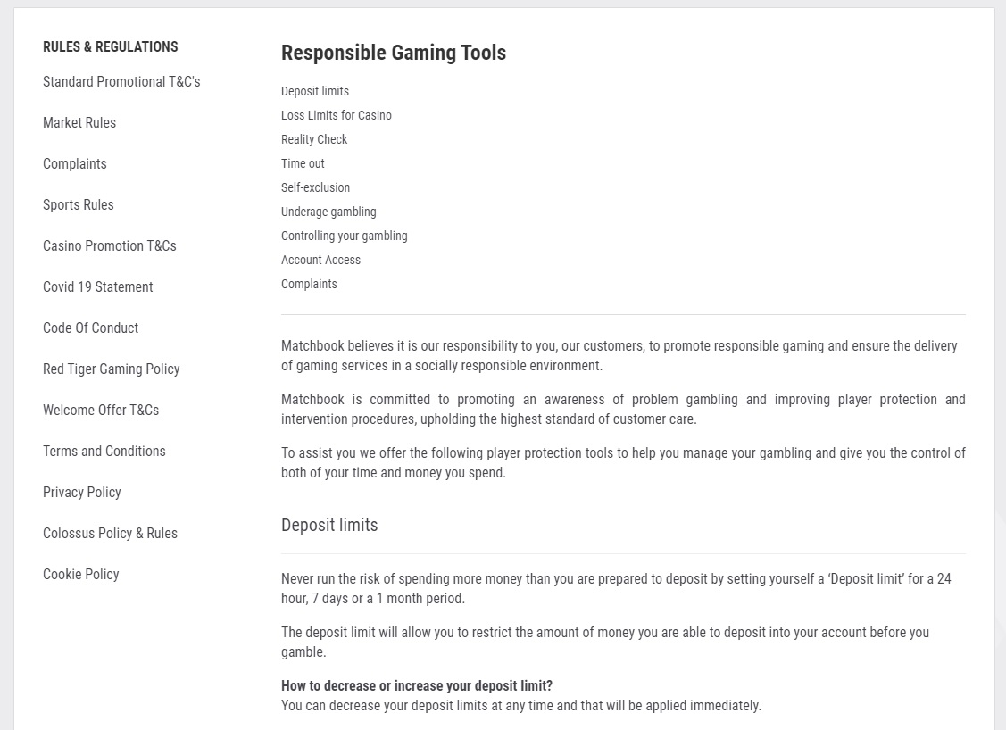 Responsible Gaming section