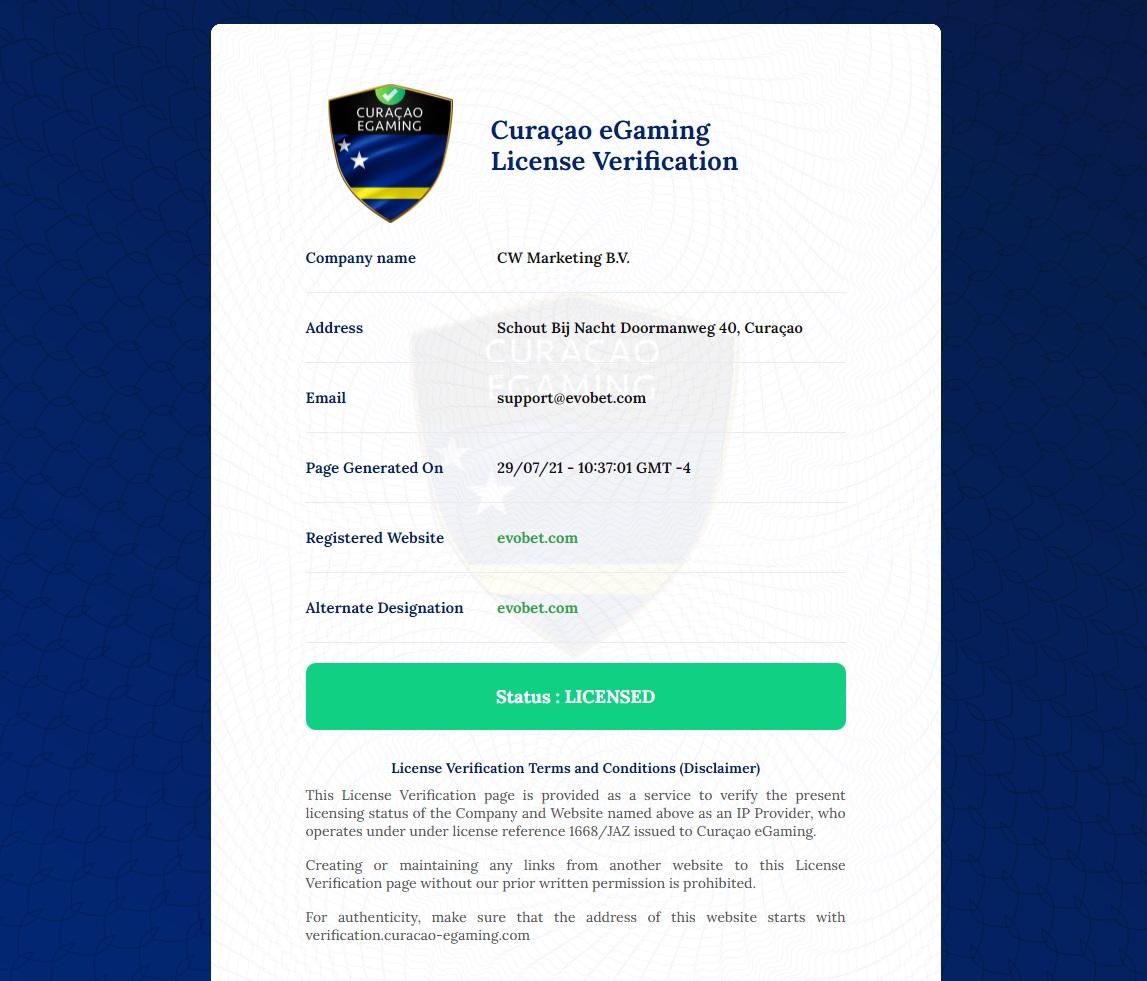 Evobet license