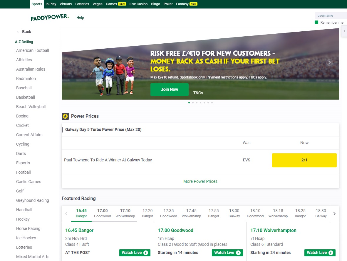 Paddy Power betting line