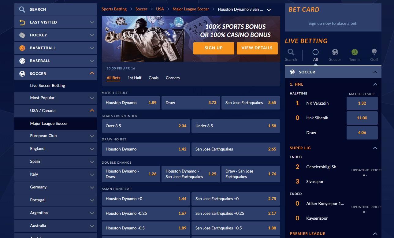 betting markets at SportsInteraction