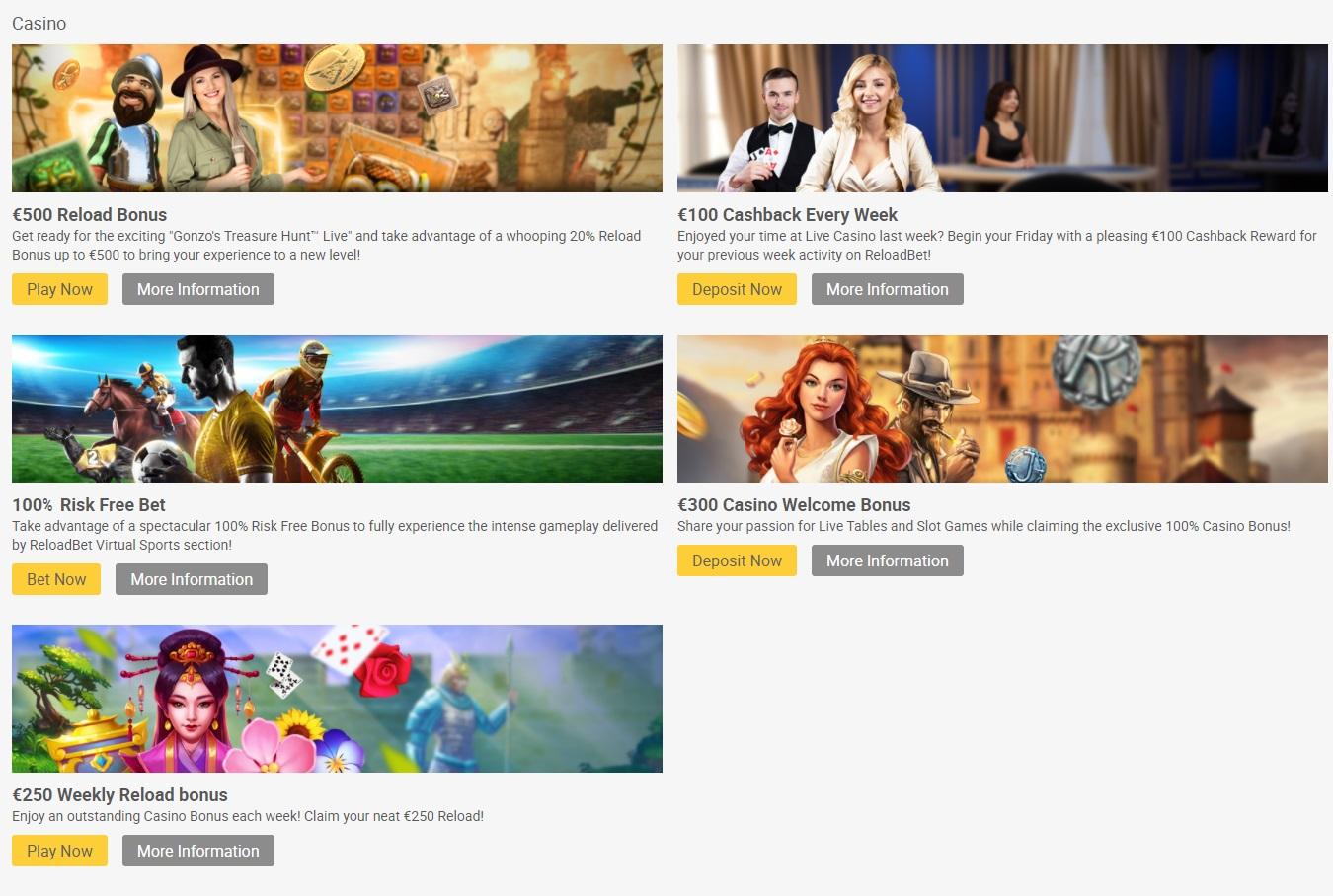 Casino bonuses reload bet com
