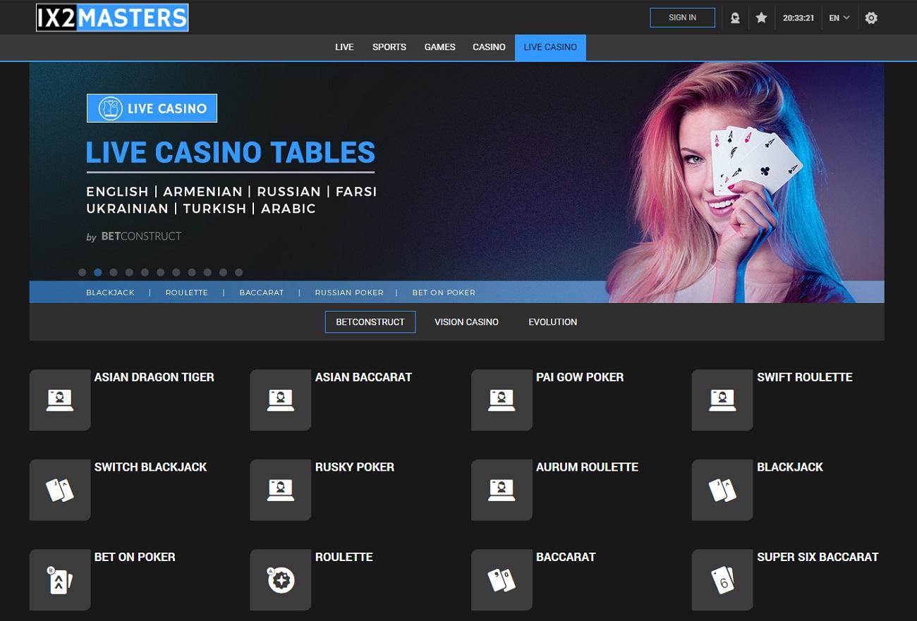 Live Casino 1x2Masters