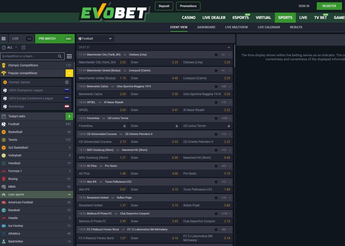 Evobet betting line