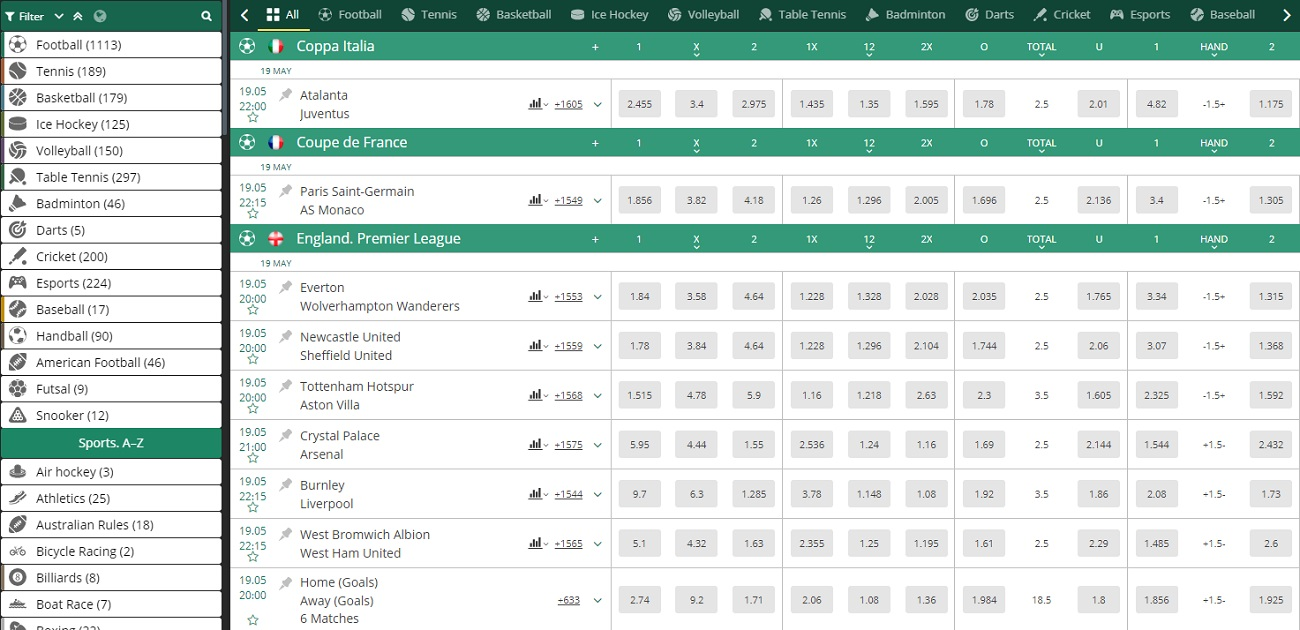 Sports betting line at bet Winner com