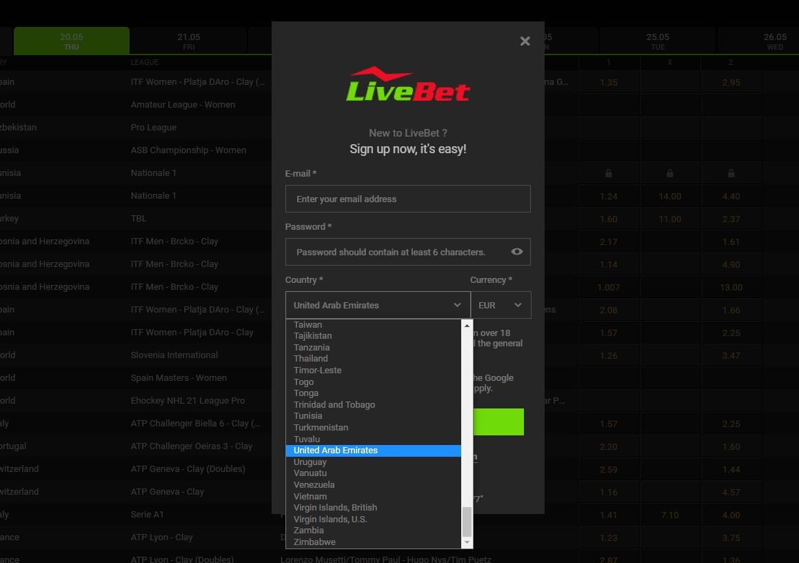 Registration at Livebet