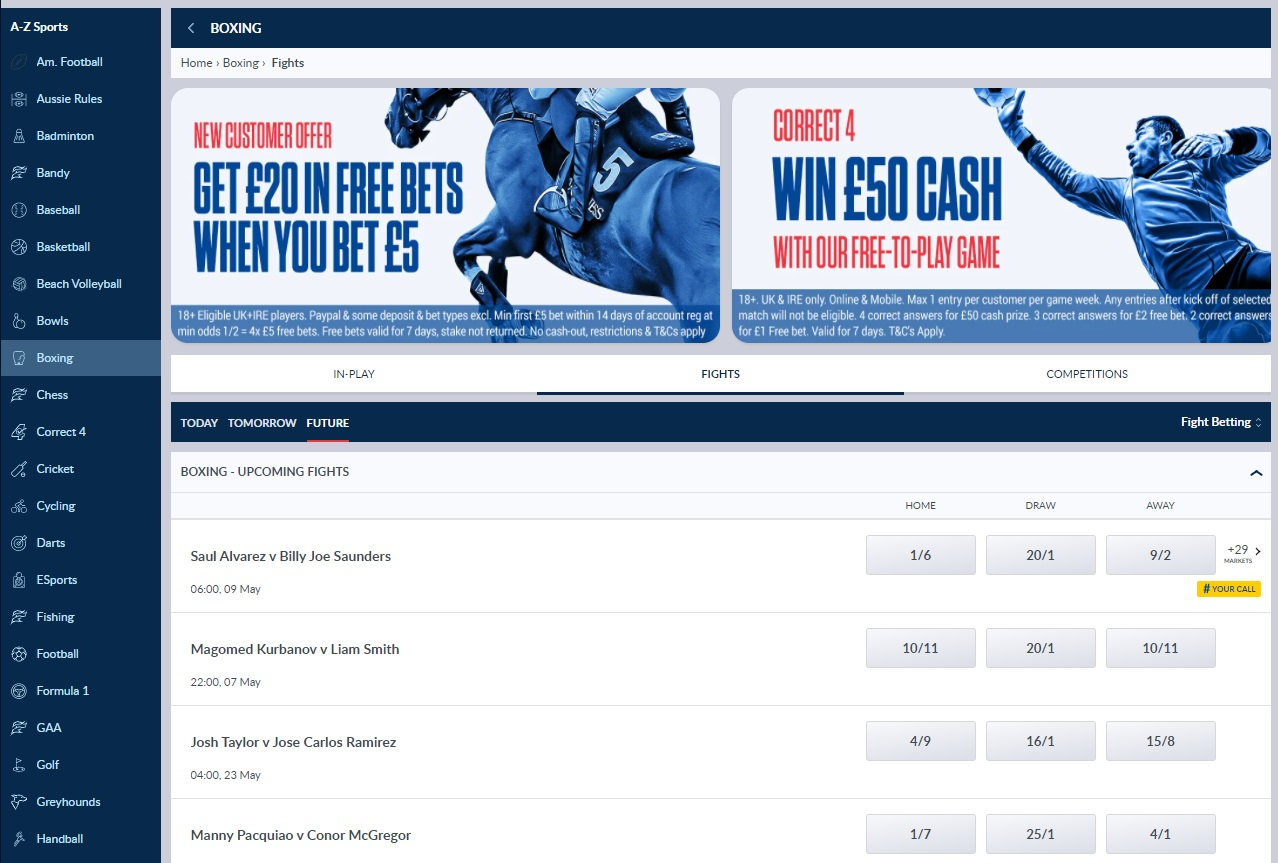 line and odds at Coral