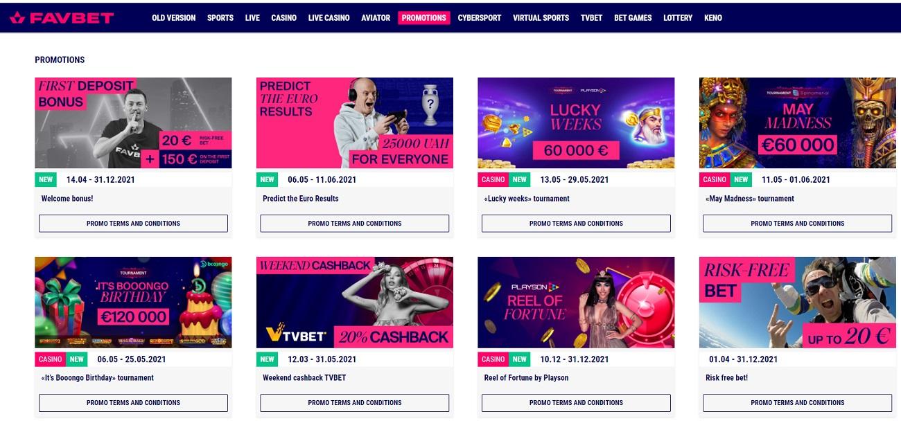 Section of promotions Favbet com ua