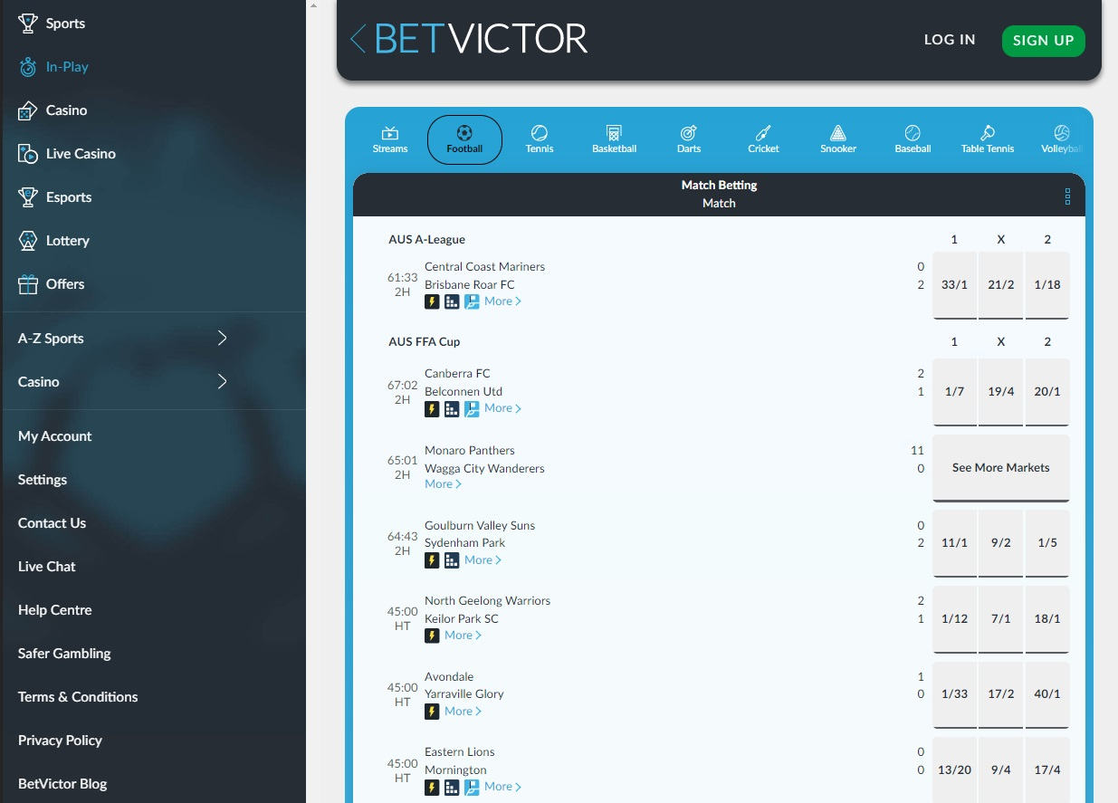 Online sports betting in Betvictor