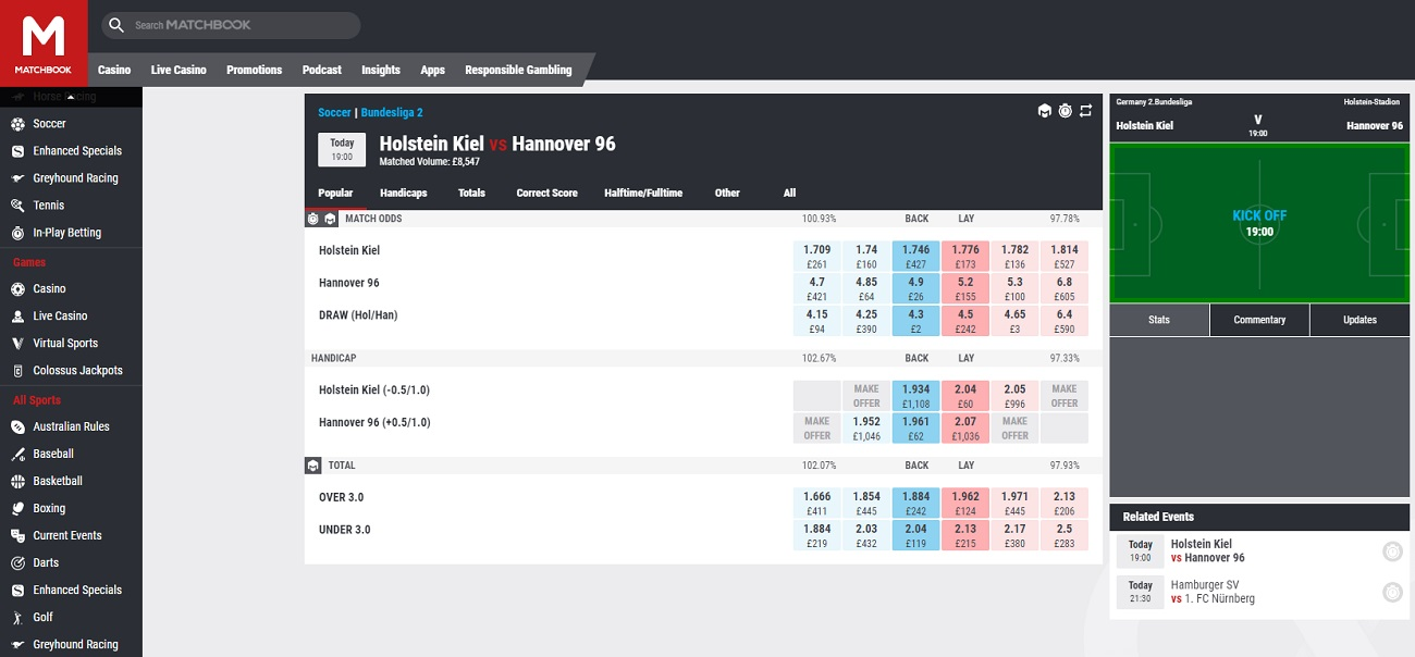 Live betting at Matchbook