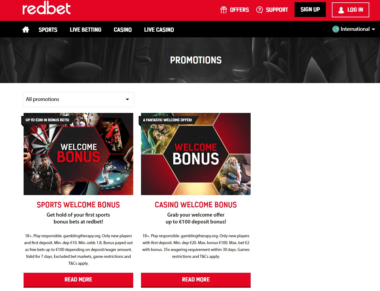 RedBet Promotions and bonuses