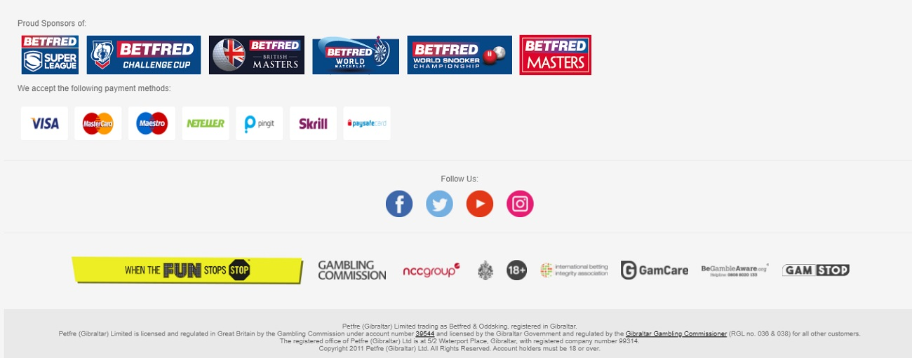 Betfred Payment methods