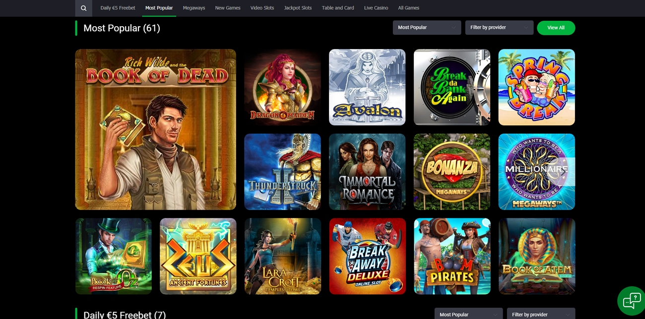 Bet 90 casino section