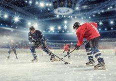 Hockey match at rink