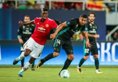 Skopje, FYROM - August 8,2017:Real Madrid Casemiro (R) and Manchester United Paul Pogba (L) during the UEFA Super Cup Final match between Real Madrid and Manchester United at Philip II Arena in Skopje