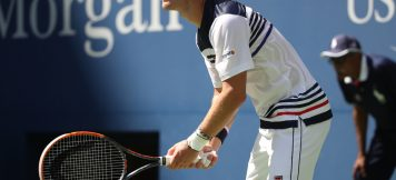 NEW YORK - SEPTEMBER 5, 2017: Professional tennis player Diego Schwartzman of Argentina in action during his quarterfinal match at US Open 2017 at Billie Jean King National Tennis Center