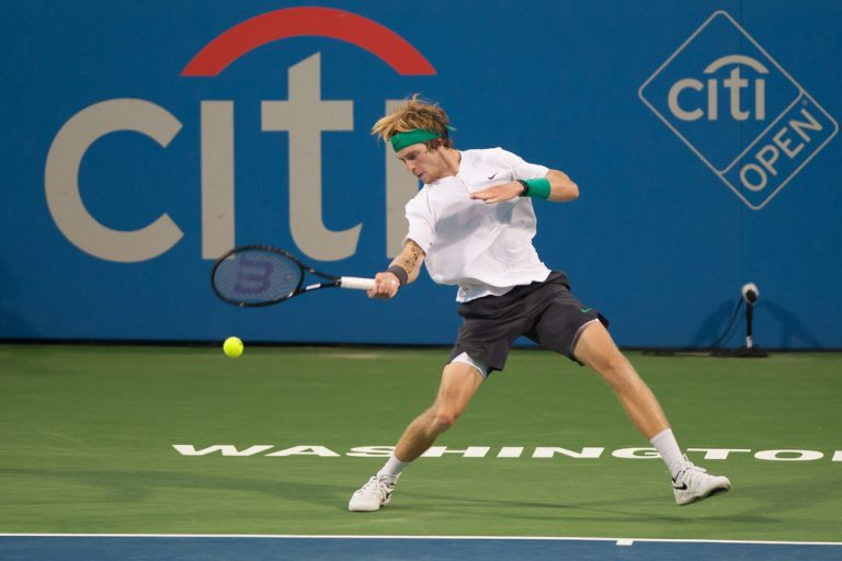 Andrey Rublev (RUS) falls to Alex de Minaur (AUS) in the semifinals of of the Citi Open tennis tournament on August 4, 2018 in Washington DC