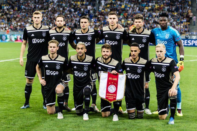 Kyiv, Ukraine - August 24, 2018: Ajax team photo before the start UEFA Champions League match Dynamo Kyiv – AFC Ajax at NSC Olympic stadium in Kyiv, Ukraine.