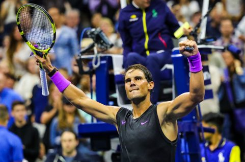 NEW YORK - AUGUST 27, 2019: 18-time Grand Slam champion Rafael Nadal of Spain celebrates victory after his 2019 US Open first round match at Billie Jean King National Tennis Center in New York