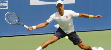 NEW YORK - AUGUST 21: Six times Grand Slam champion Novak Djokovic practices for US Open 2014 at Billie Jean King National Tennis Center on August 21, 2014 in New York