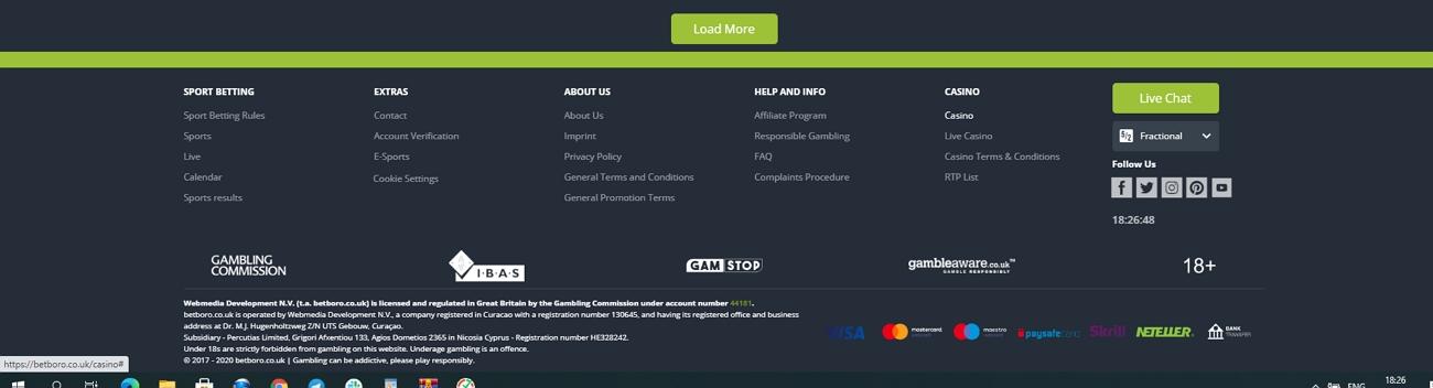 Betboro deposit options