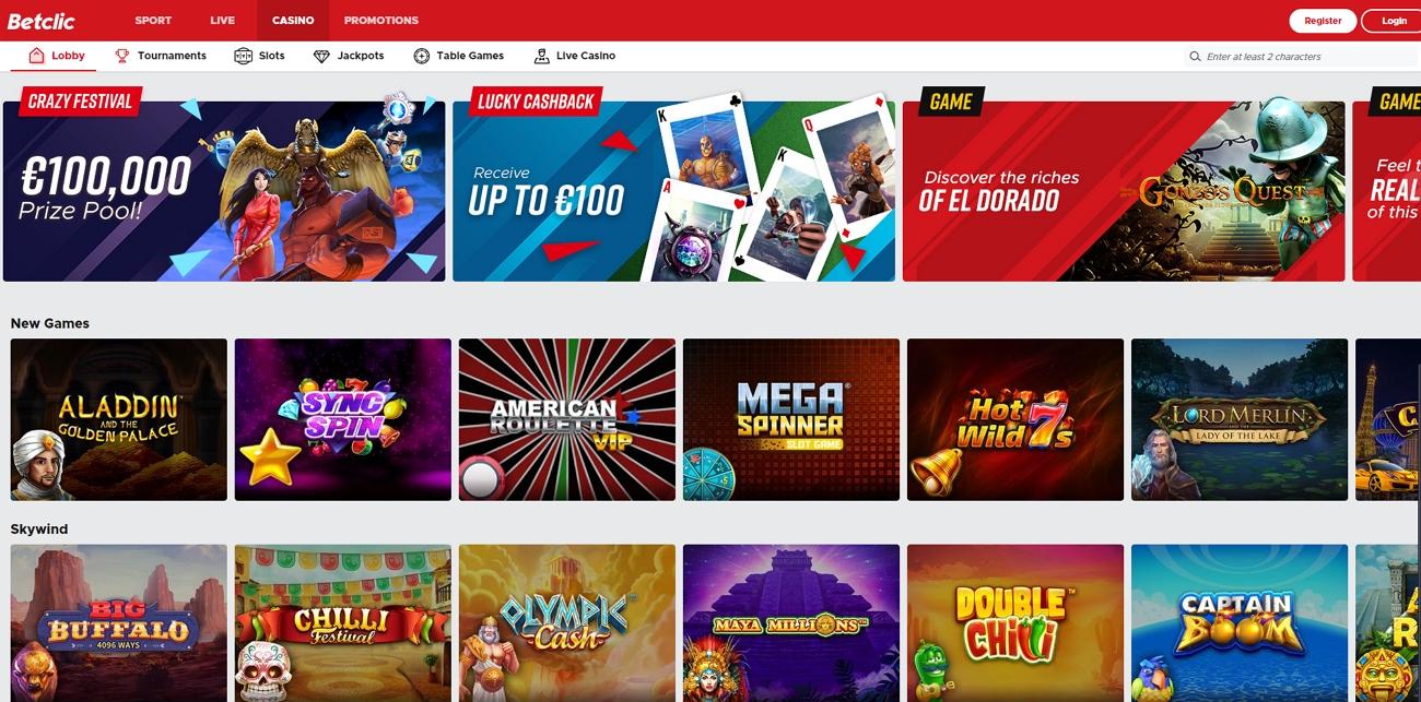 Betclic casino page