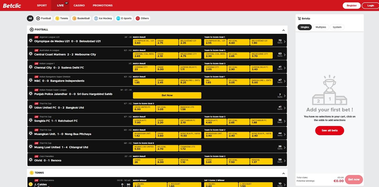 Betclic live betting page