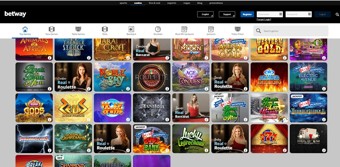 Betway Casino Page