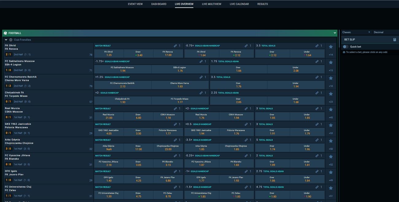 Falconbet live betting section
