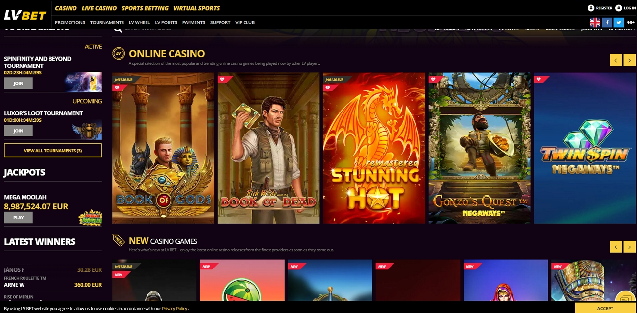 LV Bet Casino Page