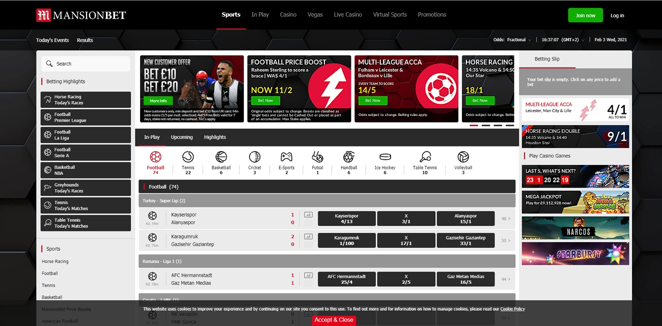 Mansionbet betting site review