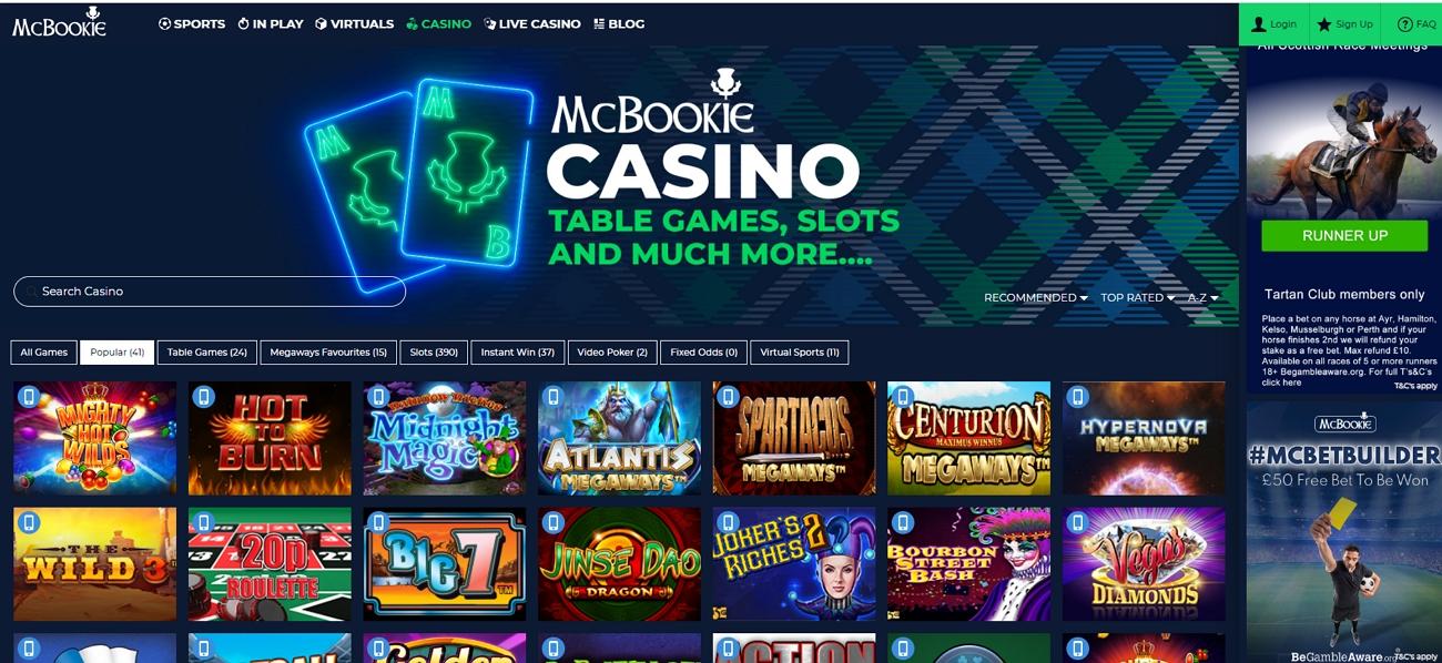 Mcbookie casino games