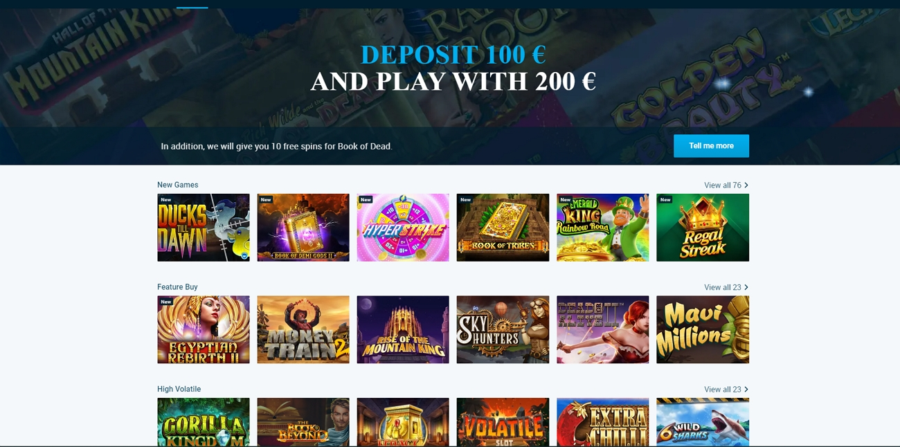Mybet casino section