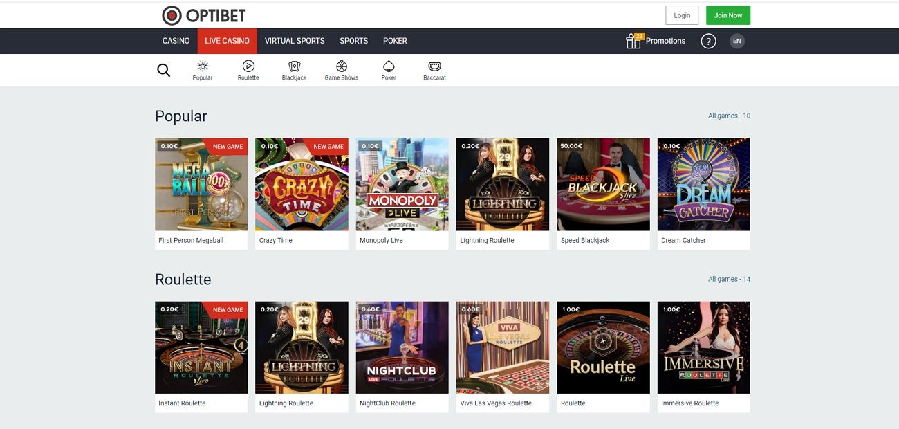 Optibet live casino section