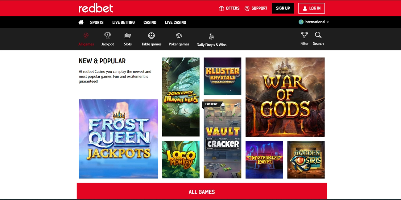 Redbet casino section