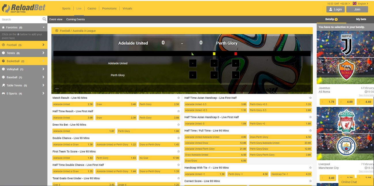 Reloadbet live betting section