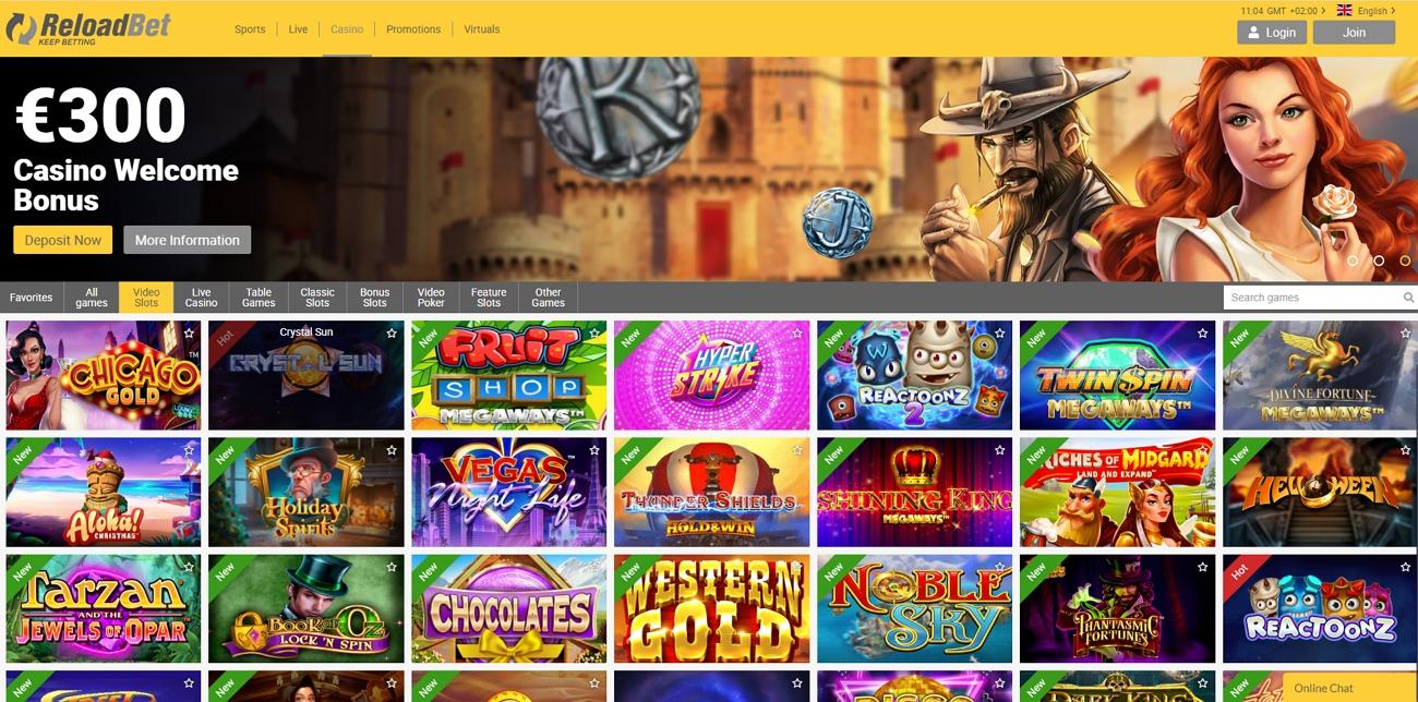 Reloadbet casino page